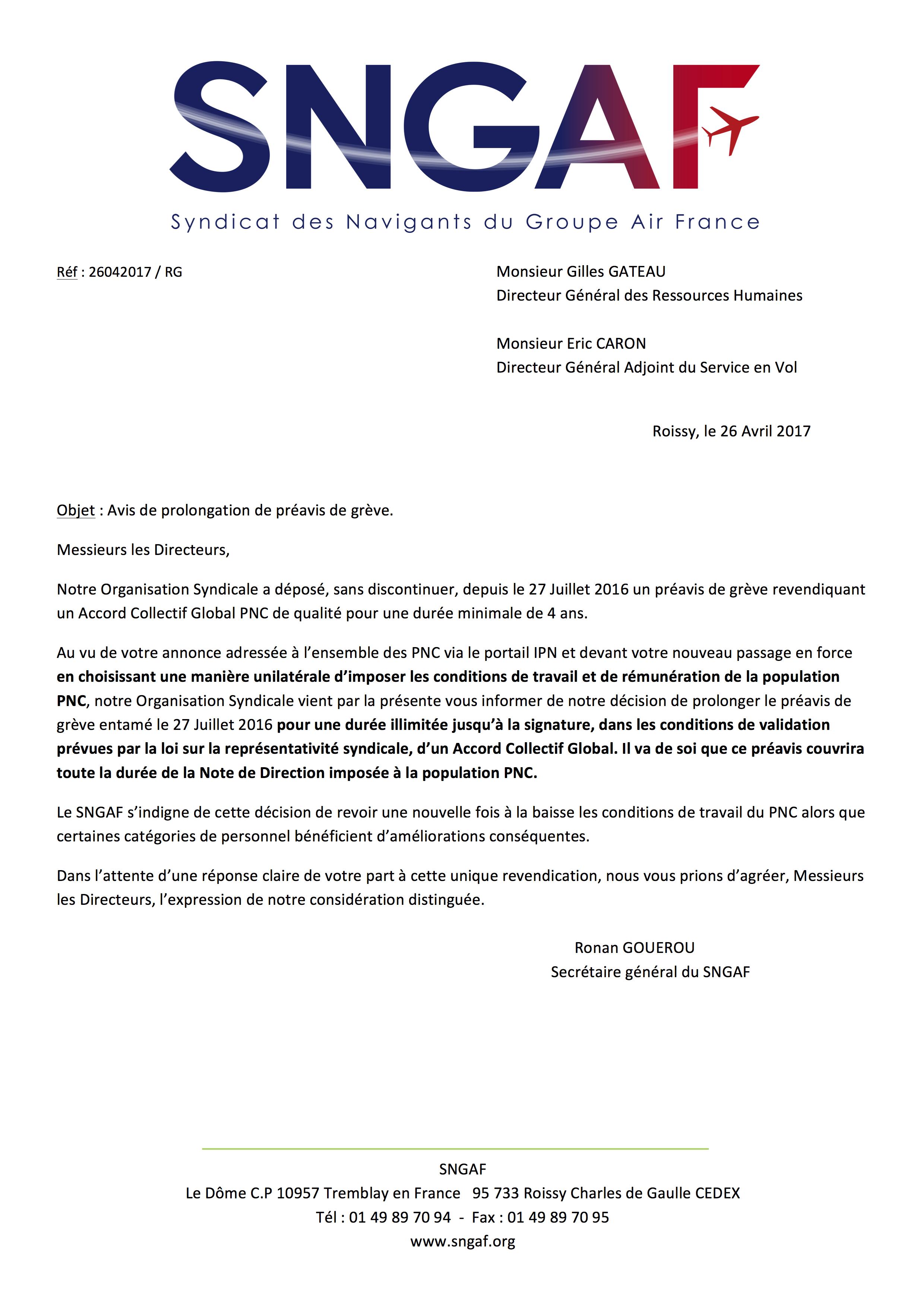 20170426 Courrier Gilles Gateau et Eric Caron Prolongation préavis de grève