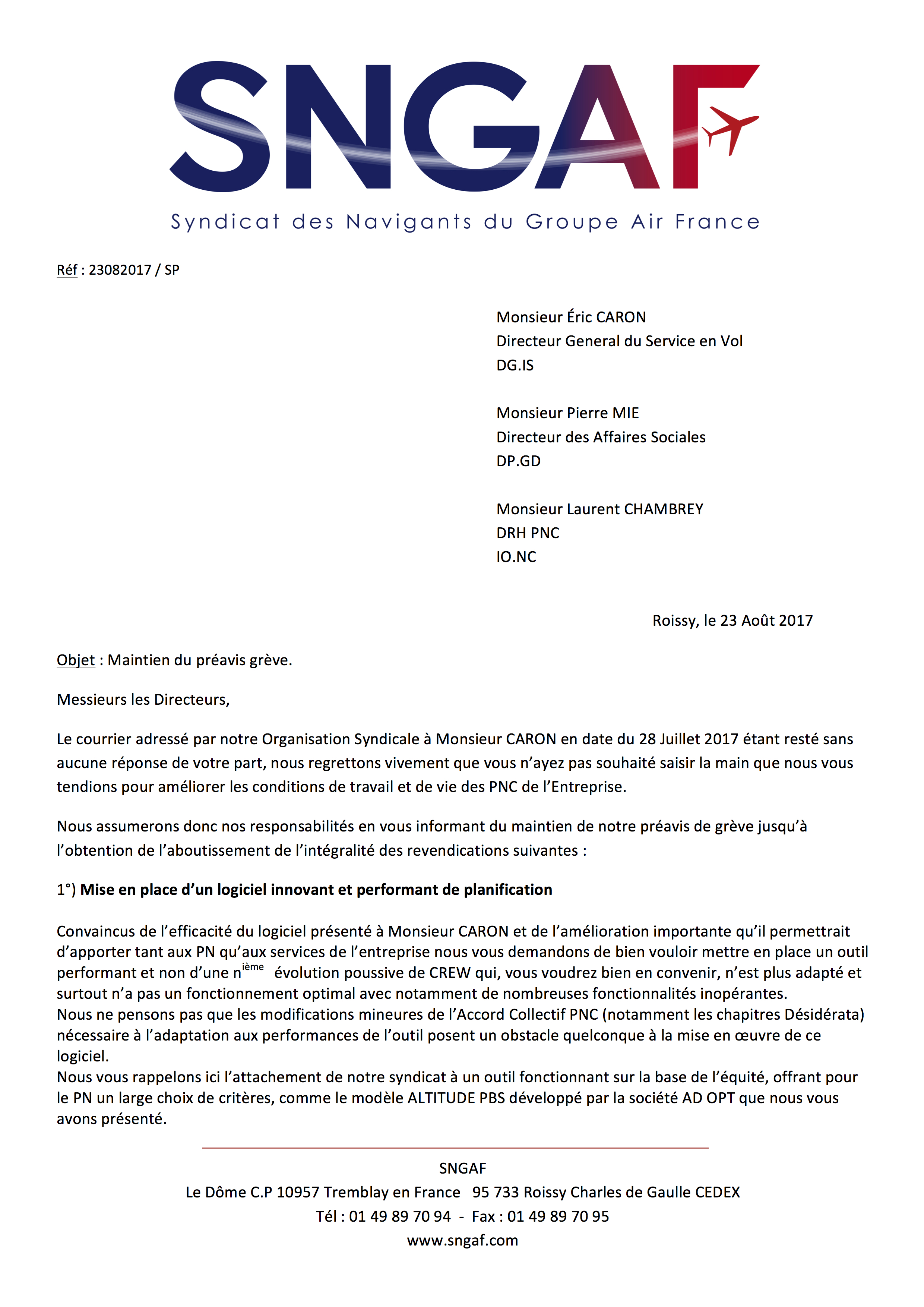 20170823 Courrier prolongation greve a compter du 1er septembre