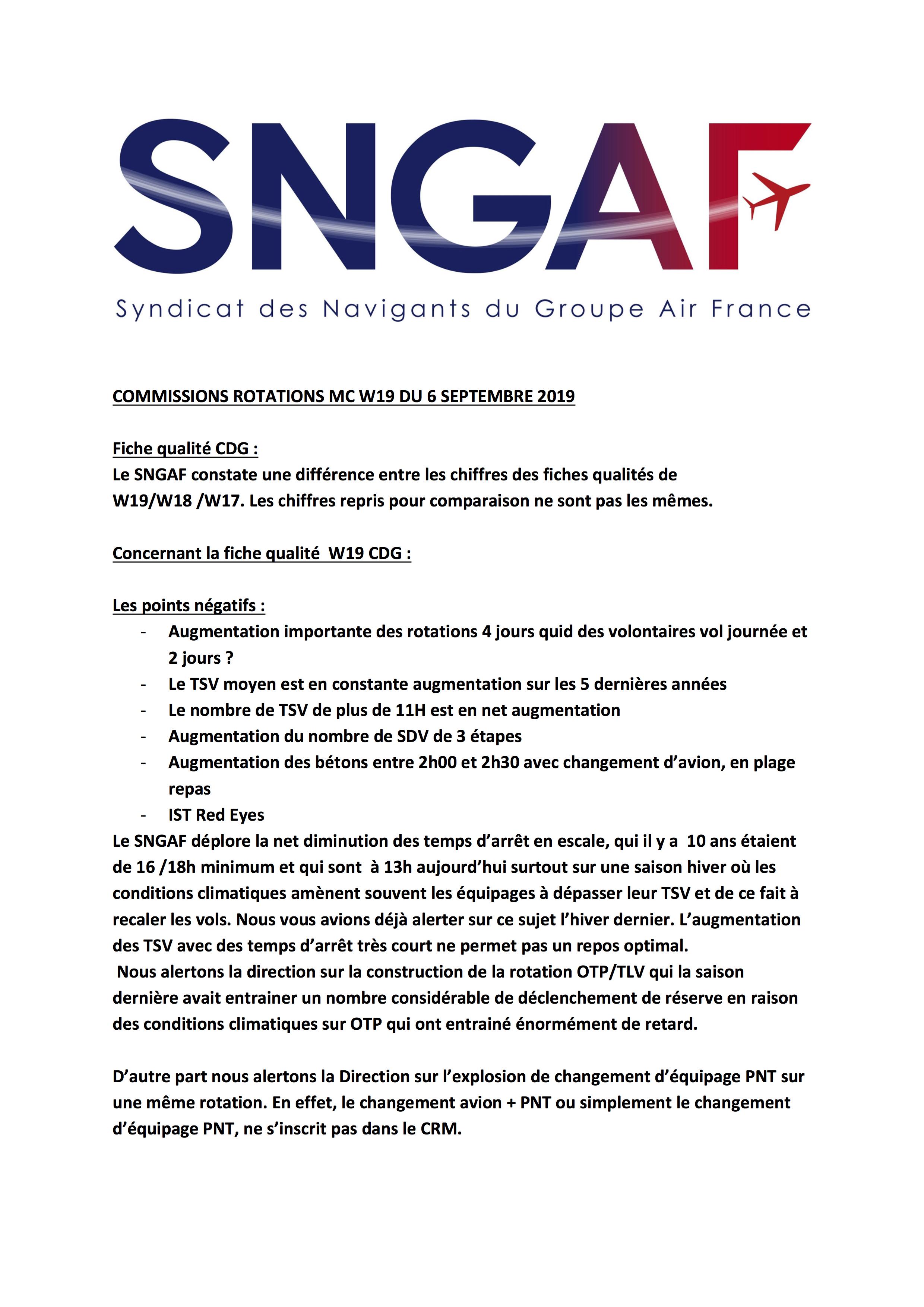 Fiche qualité CDG : Le SNGAF constate une différence entre les chiffres des fiches qualités de W19/W18 /W17. Les chiffres repris pour comparaison ne sont pas les mêmes.